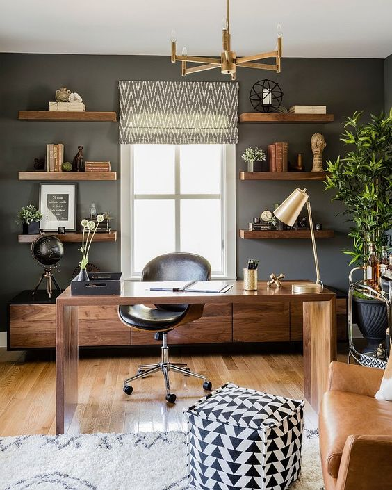 ManlyInspiring office space with wood and dark walls