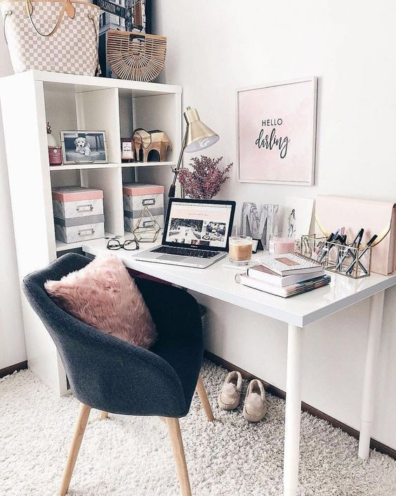 Pink inspiring office with modern mid century