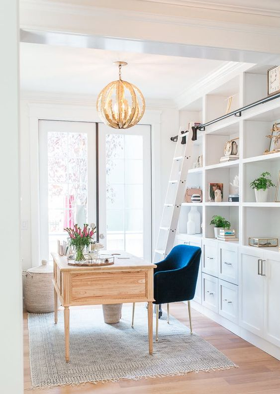 minimalistic office space mid Scandinavian blue chair