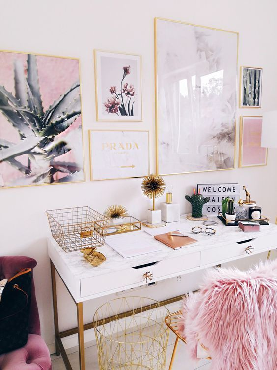 Girly pink office space