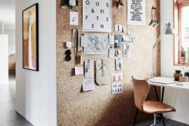 Office with cork board wall