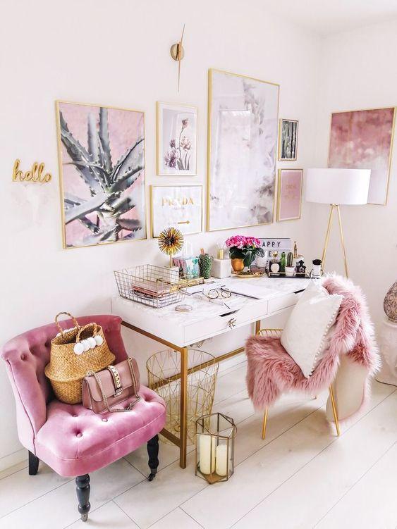 Glam pink girly work Inspiring office