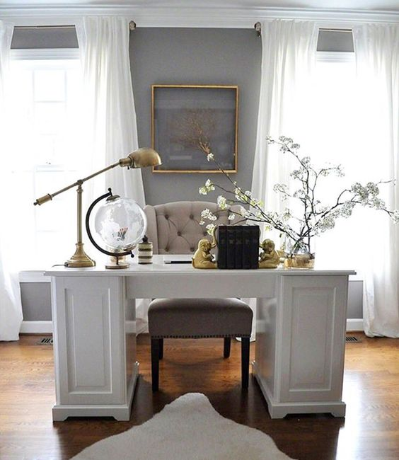 Neutral Inspiring office space with white desk