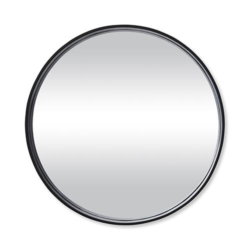 Black wall circle mirror