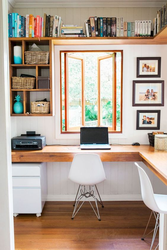 Home office design with window