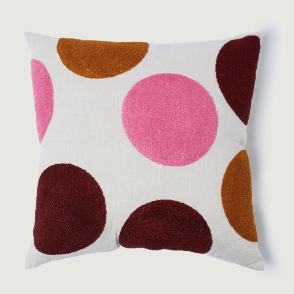 spot cushion gorman pink and white