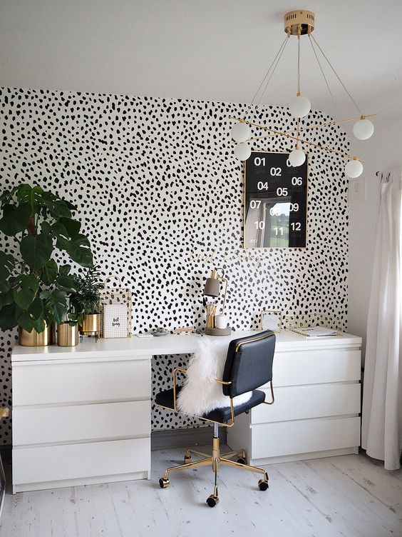 spotty wall paper home office