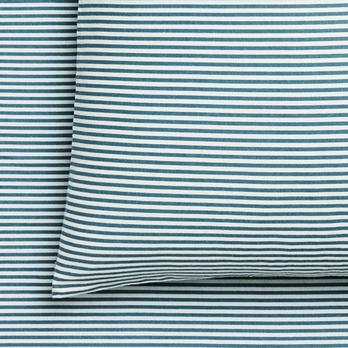 Printed Blue Stripe Flannelette Sheet Set