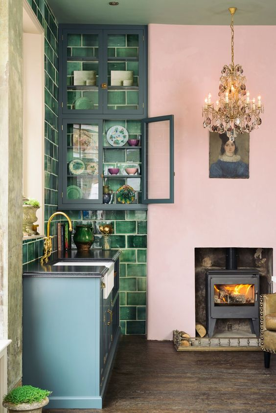Pink and green tile kitchen