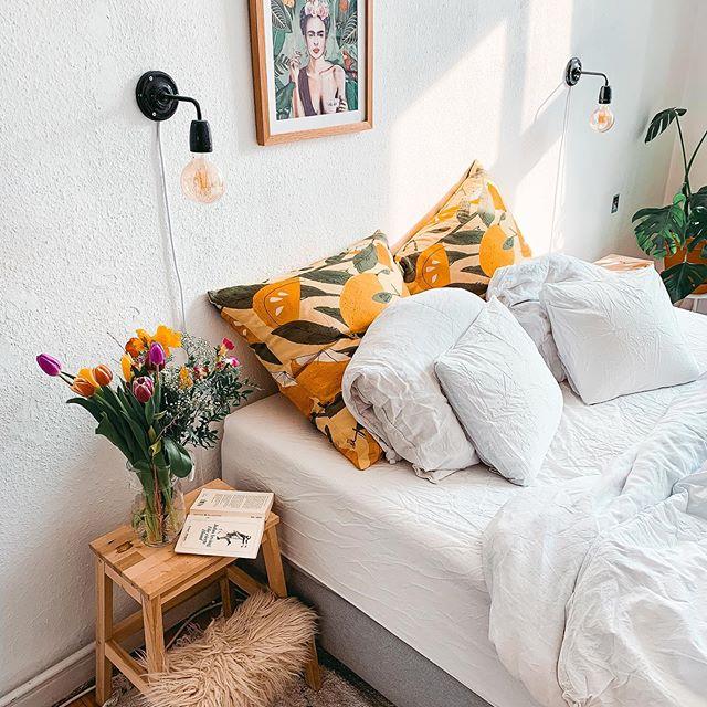Interior design bedroom sheet decor