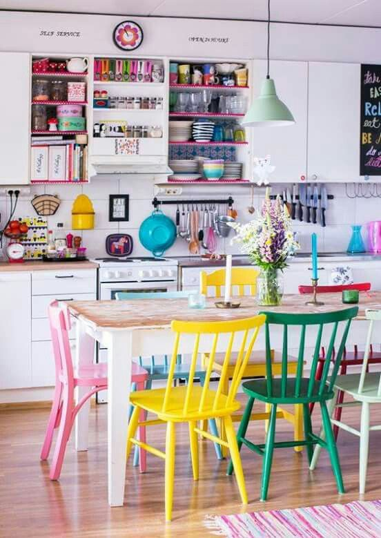 Multi coloured chairs in kitchen