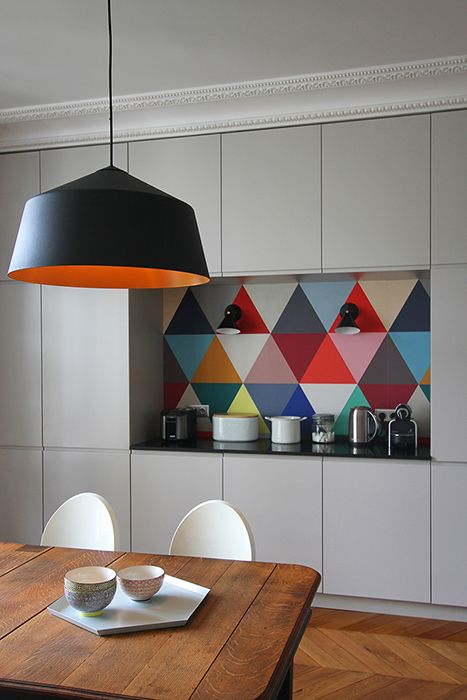 colourful backdrop kitchen