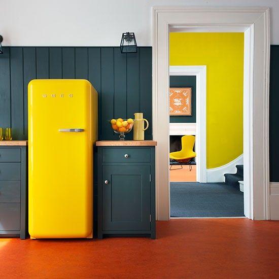 Yellow fridge kitchen pops of colour