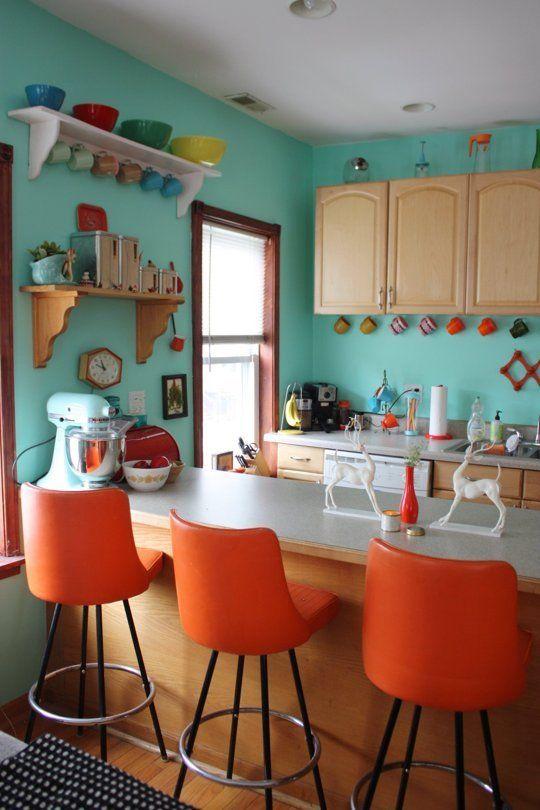 Orange and teal kitchen decor ideas