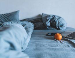 Blue linen bedding