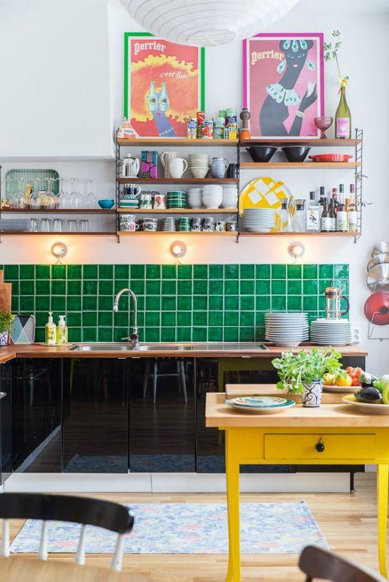 Green tile kitchen decor style