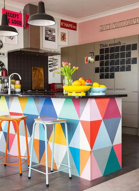 Bright pattern kitchen styling