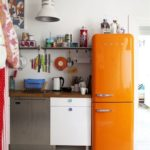 Orange fridge kitchen styling