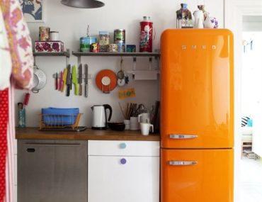 Orange fridge kitchen styling