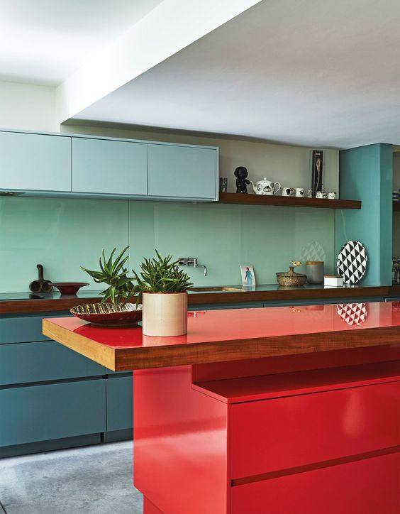 Red counter kitchen the style index