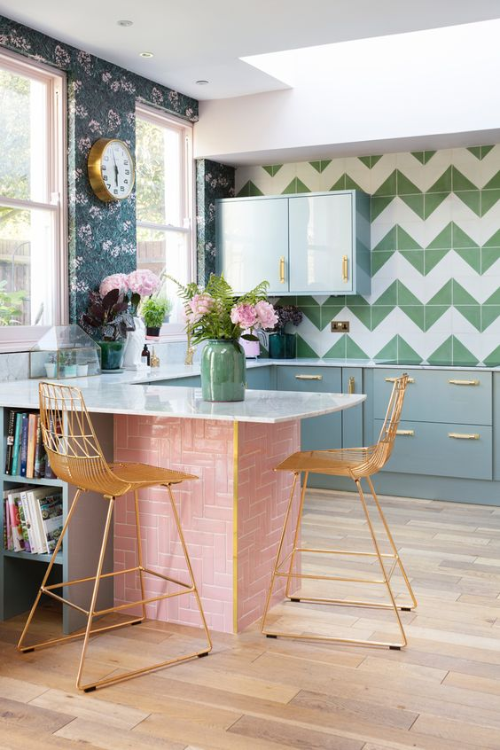 Pink and green kitchen styling