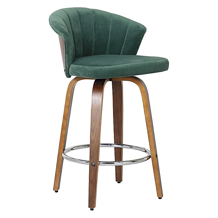 Fannered Velvet Bar Stool