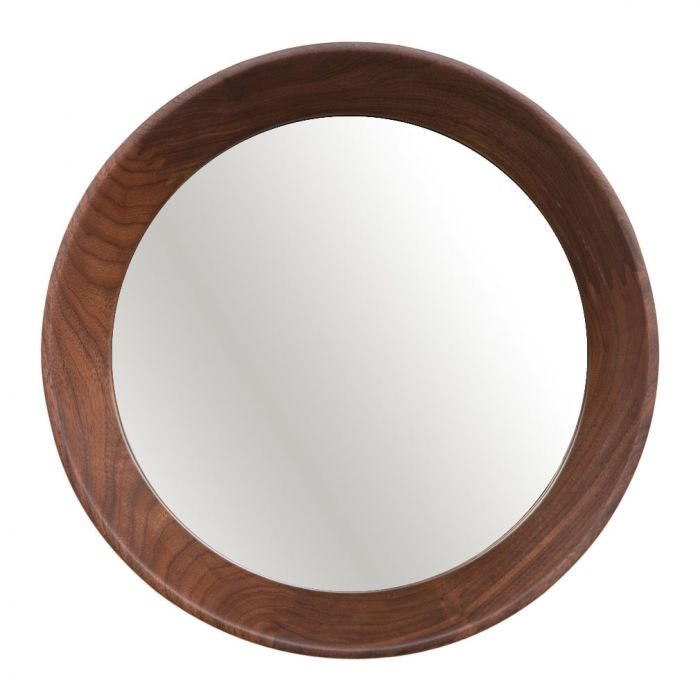 Walnut round mirror