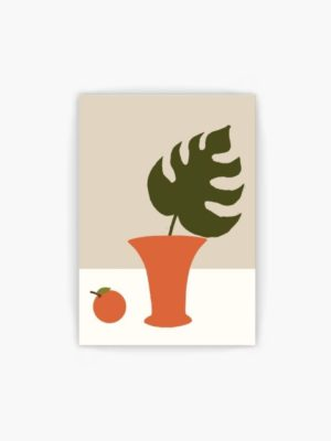 Retro Vase and Leaf free wall art