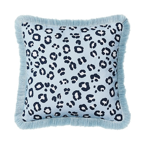 Leopard Print Blue & Navy Cushion