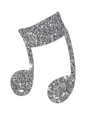 Silver Glitter Music Note
